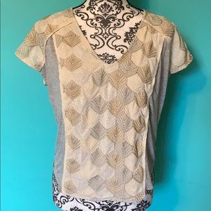 Anthropologie Tiny Tie Back Shimmer Front Blouse